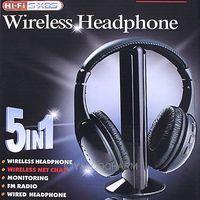 5 IN1 Wireless Headphone Casque Audio Sans Fil Ecouteur Hi-Fi Radio FM TV MP3 MP4 Neuf 80215