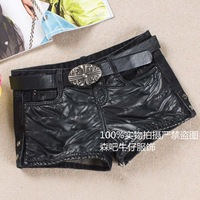 Leather denim shorts thickening water washed leather pants black boot cut jeans shorts with belt