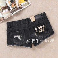 2013 plus size hole fur black denim shorts boots pants jeans