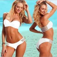 Free Shipping Hollow sexy push up bikini New women swim suits white swimwear bikini