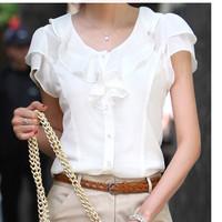 Hot 2014 summer women's plus size white chiffon shirt short-sleeve top ruffle shirt xxxl 4xl 5xl plus size Free Shipping