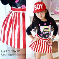 Girls Fashion Wardrobe Skirts Red White Vertical Stripe All-match Elastic Waist Short Skirt Bust 2014 New