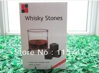 Christmas gift! Whisky stones 9pcs set in DELICATE GIFT BOX + velvet bag, 4 colors, FREE SHIPPING
