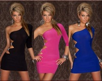 3 Colors Beauty One Shoulder Rhinestone Mini Dress Sexy New Fashion Side Open KTV Party Costume Lingerie Black Rose Blue YH6675