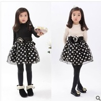 New Arrival Children's Spring Dress 2014 Korean Style Hot Sale Girls Long Sleeve Dot Princess Dress