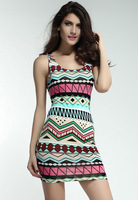 Free shipping Fancy Form-fitting Stretch Dress with Ethnic-print Blue Pink Baby Blue Green Women Tank