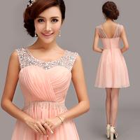 Evening Dress 2015 Fashion Bridal Sexy Wedding Crystal Chiffon Short Pink Party Dresses Sweet Girl Prom Dresses Plus Size