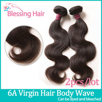 6A Brazilian Body Wave Virgin Hair Extensions,Bless Queen Hair Products 2pcs Lot Hair weaves,Unprocessed Human Hair Weave Wavy