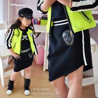 Girls Wardrobe Skirts Children's clothing Back Gold Chain Skull Skirts Irregular Bevel Child 2014 New Style