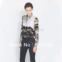 2014 Spring Elegant European Style Ladies' Long Sleeve Blouse Tree And Head Of Leopard Print Chiffon Women shirt SX0471