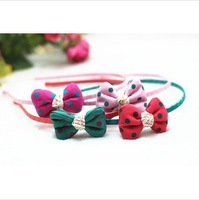 2014 New Girls Korean Style Princess Hair Stick Childrens Pretty Polka Dot Bow-tie Farbic Hair Stick