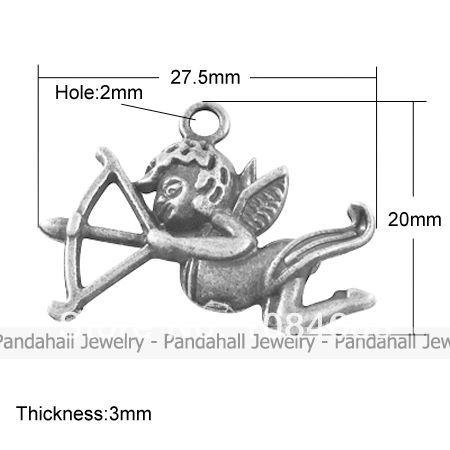 Tibetan Style Pendants Lead Free Cupid Antique Silver 20x27 5x3mm Hole 2mm