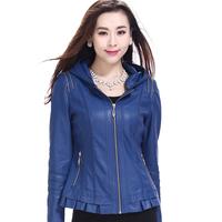 Free Shipping! Women's Mother Fashion Leather Slim Short Design Coat, Female Slim Fashion PU Formal Large size Coat XXXL 4XL 5XL