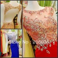 On Sale 25% Discount Chiffon Evening Dresses Rhinestones Beaded Qualify NEWE-0334