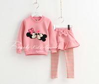 2014 New Cartoon Children Clothing Cotton Girl's Set Full Sleeve O-Neck Children Suit Free Shipping