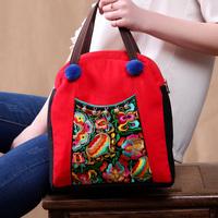 National trend handbag,Pompons embroidered canvas bag
