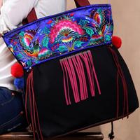National trend women's handbag,Flying peacocks embroidery canvas bag