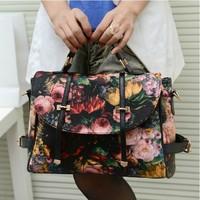 New 2014 Fashion Retro Printing Rose Oil Painting Bags Women PU Leather Handbags Women Messenger Bags Shoulder Bags Clutch