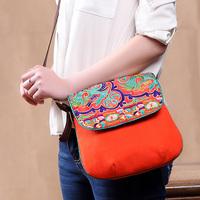 National trend bag,Crescent, Miao characteristics embroidery, canvas bag