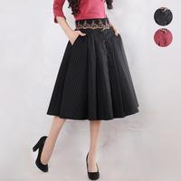[LYNETTE'S CHINOISERIE - YHT ] 2014 Spring Autumn Women Plus Size Vintage Elegant Polka Dot A-line Skirt Sz S M L XL XXL XXXL