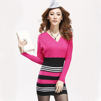2013 autumn ol slim hip stripe patchwork medium-long v-neck dress sexy sweater dress