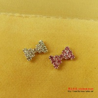 Free Shipping Full rhinestone bow magnet stud earring no pierced stud earring magnet magnetic stud earring