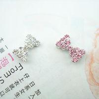 Free Shipping full rhinestone bow fashion female magnet invisible magnetic no pierced stud earring single
