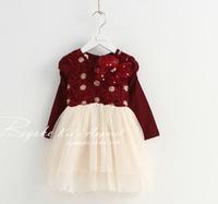 2014 New Fashion Spring Style Rose Flower Cotton Girl's Dress Long Sleeve Children Dress Free Shipping