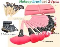DHL 60 sets Professional 24 Makeup Brushes 24PCS Cosmetic Facial Makeup Brushes Kit MakeUp Brush Set with Bag Make Up Brushes