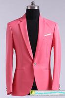 Slim men's suit Pure color Youth Leisure Wedding Groomsmen's dress 5 Color  Size:M-XL Jacket+Pant