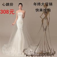 Winter 2014 fish tail sexy tube top lace strap white train wedding dress