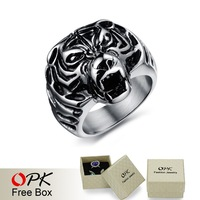 OPK JEWELRY 2014 New Personality Men  Ring Cool Tiger Head Design Punk Rock Attractive Party Ring Fashion Men Accessory  396