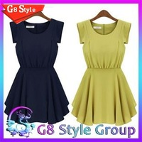 89107 Dresses  2014 brand new fashion summer women's O NECK dress big size Chiffon dress pleated Vintage dress top quality