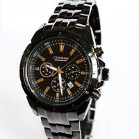 black dia face high quality fashion style ss strap JP quartz movement men watch free shipping