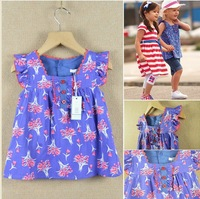 Children dresses Lolita style Princess dress cotton knit babydoll top 1 color 2Y-6Y Wholesale Free shipping