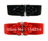 Red  Fashion Faux leather Elastic Women Buckle Waistband Belt