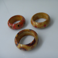 Couples ring creative gift coconut shell rings coloured drawing or pattern