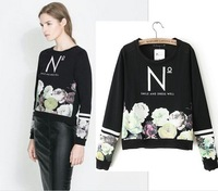 2015 HOT!!AS049 spring women's fashion Europe Flowers 3d printed sweatshirts sweater pullover clothing casual sportswear women