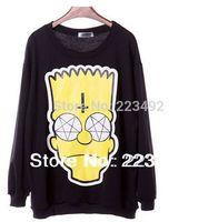 Free Shipping! 2014 Korean zipper Harajuku style British tide brand kill star crosses Simpson loose sweatshirts