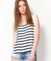30% off  EUR Size sexy semi-transparent sleeveless striped white spring blouse shirt for women 2014