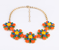 Fashion fashion accessories neon color luxury all-match flower necklace