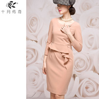 October new arrival 2014 legend elegant three-dimensional cut three quarter sleeve slim hip slim one-piece dress