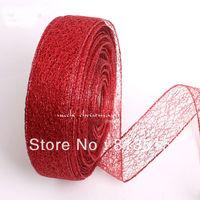 "free shipping wholesale 2""organza ribbon 50mm ribbons novelty packing accessories glitter ribbon craft sewing supplies handmade"