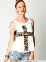 2014 Free shipping sexy fashion leopard print cross pattern print loose low o-neck vest T-shirt tube top twinset womens tees
