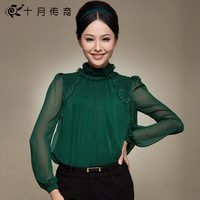 October 2014 spring legend all-match lace royal loose lantern decoration long-sleeve chiffon shirt women
