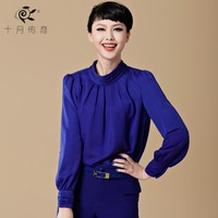 October 2014 spring legend long-sleeve shirt women's navy blue fashion OL outfit women's shirt