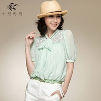 October 2013 legend of summer new arrival all-match top chiffon shirt short-sleeve shirt twinset women's