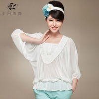 October 2013 legend all-match vintage lace loose white shirt women's