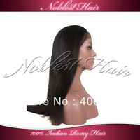 "4""*4"" silk base full lace wigs in stock 100% Indian remy hair 16""/18"" natural color light yaki lace wigs Free Shipping"