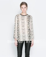 (Free Shipping) 2014   Women's Girls Fashion Snake Pattern Casual Chiffon  Blouse Ladies fashion  shirt